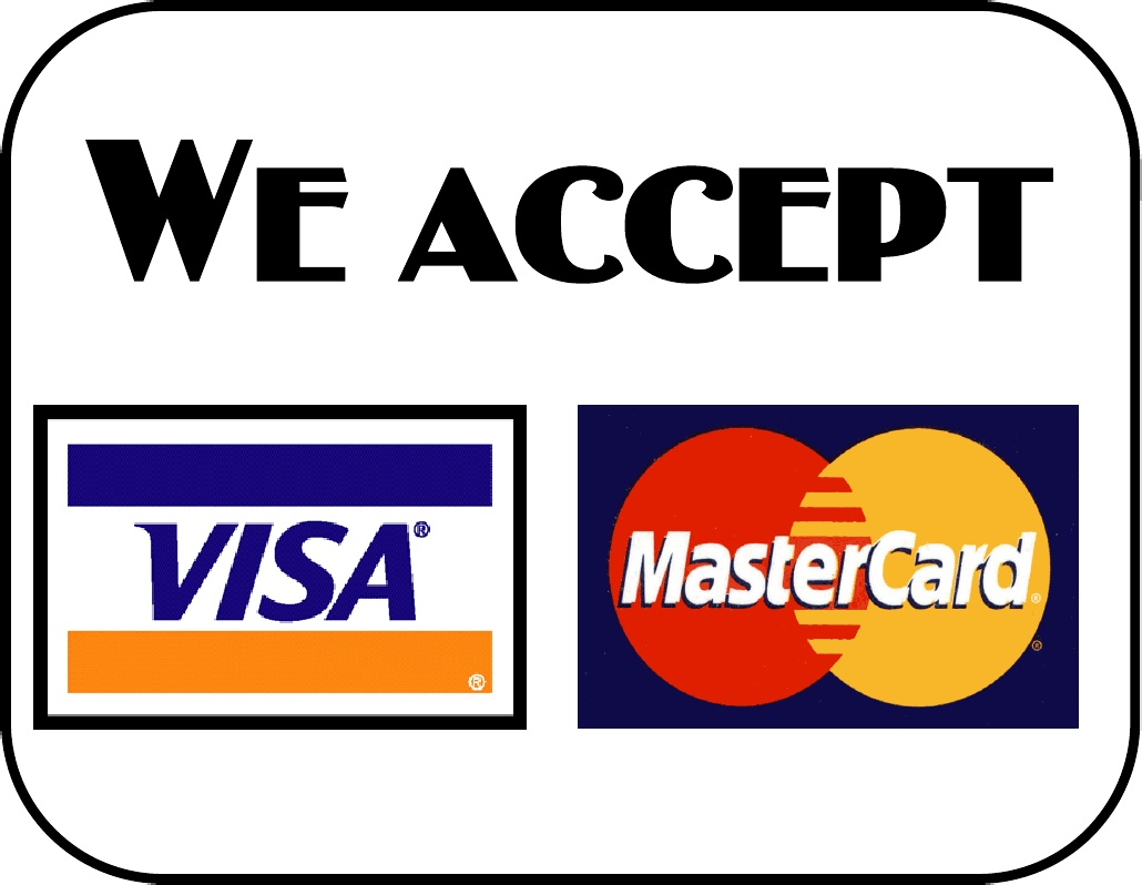 we accept visa mastercard discover sign